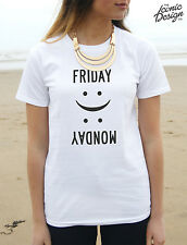 Friday Monday T-Shirt Emoticon Fashion Happy Sad Face Weekend Party Hate Tumblr