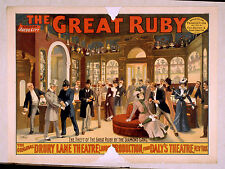 Photo Printed Old Poster Vintage Stage Drama Theatre Show The Great Ruby Drury L