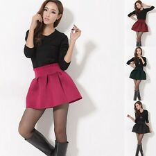 Women Sexy Pleated Puff Short Skirt Girl High Waist Solid 4 Colors Mini Skirt