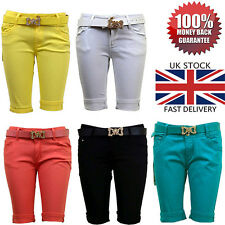 NEW LADIES WOMENS COLOUR SKINNY SUMMER MINI TAILORED SHORTS WITH BELT SIZE 6-14