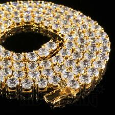 18k Gold 1 Row 5MM Lab Diamond Iced Out Chain Men's Hip Hop Tennis Necklace