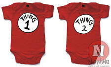 "Vestimenta Para Bebes Naughtees Clothing, Palabras En Ingles ""Thing One Two""."