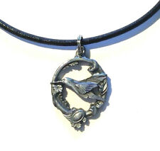 "Pewter Humming Bird Pendant Sterling Silver Clasp Leather Necklace 16"" 18"" 20"" S"