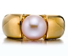 Pink Freshwater Pearl Solid 18K Yellow Gold Plated Silver Ring (9-10mm)