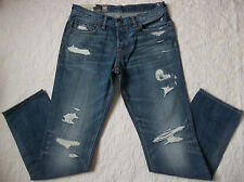 ABERCROMBIE & FITCH JEANS MENS SKINNY DESTROYED SIZE 31X32 BUTTON  FLY NEW NWT