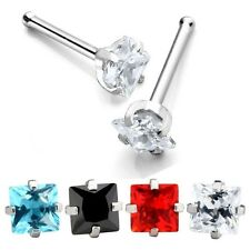 Clear Square CZ Gem Crystal Prong Nose Bone Ring Stud 20g Silver Stainless Steel