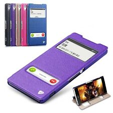 LUXURY Dual Window Leather Flip Stand Case Cover For Sony Xperia Z2 L50W D6503