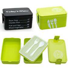 Black&green Plastic Lunch Box Bento Multi-layer Food Container With Fork&Spoon
