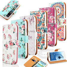 VINTAGE FLORAL WALLET LEATHER FLIP STAND CASE COVER FOR SAMSUNG S2 S3 S4 & MINI
