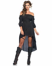 NEW Sexy Gothic Medieval Burgundy High Low Peasant Dress Adult Halloween Costume