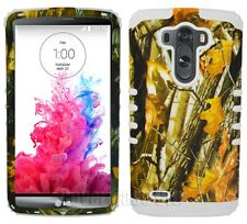 Phone Case for LG G3 Hybrid Rugged Dual Layer Cover Oak Tree Branch Camo White
