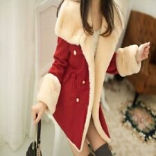 Korean College Wind Women Girls Slim Thin Double-breasted Wool Coat Jacket
