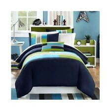 Bedding Comforter Modern Twin/Twin XL Bed in Bag Navy Green Stripe 4 Piece