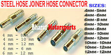 Metal steel Straight Hose Joiner Barbed Connector Air Fuel Water Pipe Gas Tubing