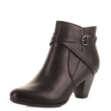 WOMENS LOTUS BLACK MID HEEL LEATHER STYLE SMART WORK CASUAL ANKLE BOOTS SIZE