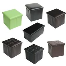 Foldable Faux Leather Square Ottoman Collapsible Storage Foot Rest Stool Seat