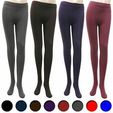 Womens Fleece lined footed solid leggings fall winter warm leggings