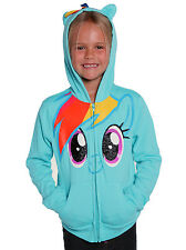 My Little Pony Rainbow Dash Aqua Blue Girls Glitter Zip Hoodie Sweatshirt Ears