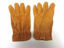 MEN'S SADDLE COLORED BISON LEATHER HEAVY DUTY WORK GLOVES..MADE IN THE USA