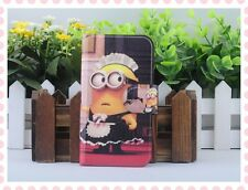 2014 New lovely Colourful Funny Despicable me flip PU leather case cover for htc