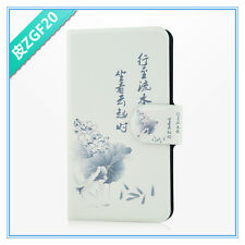 2014 hot sale Chinese calligraphy lotus fish PU leather flip case for LG Optimus