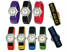 Childrens Ravel Nite Glo Luminescent Dial Kids Analogue Watch Hook & Loop Strap