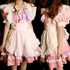 Vintage Lolita Pink Satin Japanese Halloween French Maid Dress Costume @VC1004