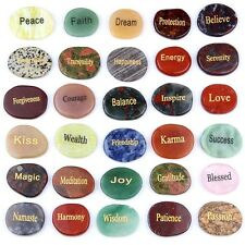 Natural Tumbled Palm Stone Engraved Words Semi-precious Gemstones Sold By 1pcs