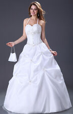 GK Ladies White Halter Embroidered Beaded Wedding Dress Floor Length Bridal Veil