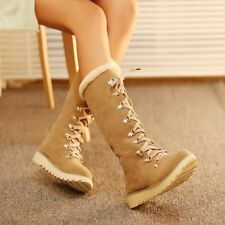 Womens Sweet Fur Furry Lace Up Winter Warm Snow Knee High Boots Plus Size 10 NEW