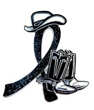 Black Ribbon Lapel Pin Awareness Cowboy Boots Western Suicide Cancer Cause New