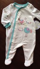 NEW Babies R Us Footie Pajama Outfit - Teal w. Embroidered Birds - 3, 6 months