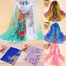 Lady's Bird and Flower Printed Flower Soft Silk Chiffon Neck Scarf Wrap Stole