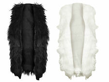 Womens Ladies Fluffy Shaggy Faux Fur Jackets Sleeveless Winter Warm Coat Top