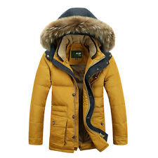 New Mens Thick Duck Down Jacket Winter Fur Collar Coat Outwear Warm Hooded Parka
