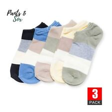 3 Pairs Mens Low Cut Colour Impact Cotton Socks No Show Socks Black Grey 6-11