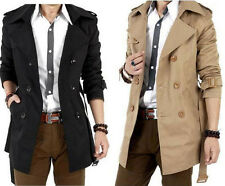 2014 New Mens Double Breasted Trench Fashion Casual Slim Fit Long Coat 2Colors