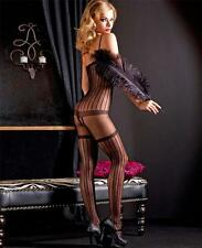 Sheer Vertical Stripes Bodystocking with Faux Garter Belt and Stockings Print