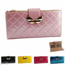 Womens / Ladies High Grade Faux Leather Gloss Finish Checked Purse -- BNWT