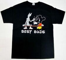 Best Buds T-shirt Bugs Bunny Mickey Mouse Marijuana Weed Adult S-2XL Black New