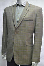 MENS BLAZER/CASUAL JACKET BROWN  TWEED CHECK SIZES 38-50 CHEST