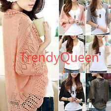 Womens Long Sleeve Knitted Batwing Sleeves Sweater Cardigans Shirt Tops Coat