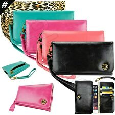 caseen Women's Smart Cell Phone Cute Snap Clutch Wristlet Strap Flip Wallet Case