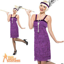 Adult Lilac Jazz Flapper Costume Roaring 20s Gatsby Fancy Dress Outfit Ladies