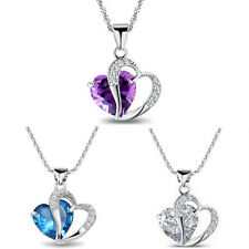 2015 Fashion Women's 925 Sterling Silver CZ 2-Heart Necklace Pendant+Necklace