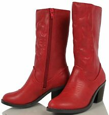 Soda Kid's Red Faux Leather Almond Toe  Mid Calf Cowboy Boot Reno
