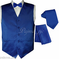 Royal Blue Solid Vest Waistcoat and Butterfly Bow Tie & Neck tie Hanky Wedding