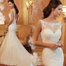 New White Sweetheart Lace Applique Beaded Strapless Mermaid Wedding Dress