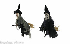 HANGING EVIL WITCH X 2 ON BROOMSTICK 55cm SCARY HALLOWEEN PROP DECORATION