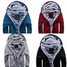 Fashion  Mens Boys Fur Lining Causal Thicken Hoodie Zip Coats Jacket sweater